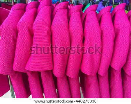 Thailand clothing hanging on the clothes line, Thai silk - stock photo