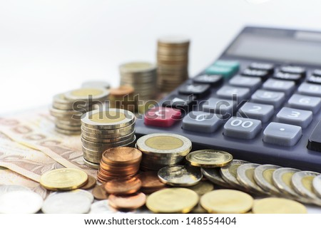 thailand coin stacks showing growth - stock photo