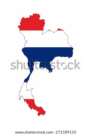 thailand country flag map shape national symbol - stock photo