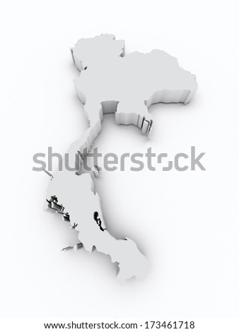 Thailand 3d map - stock photo