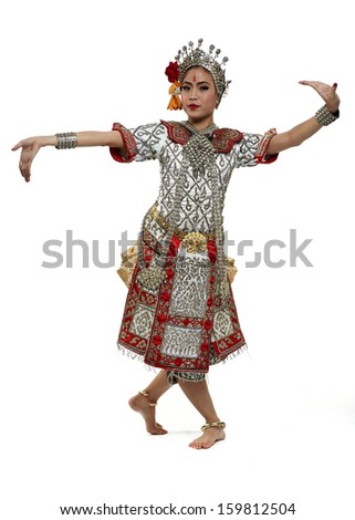 Thailand Dancing art Chuichay that high class of dance in Siam Bangkok Thailand. Studio Female Dancing art with white back ground - stock photo