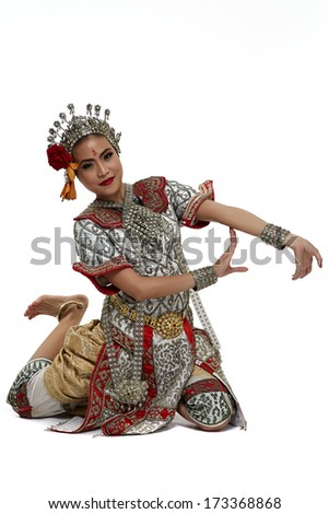 Thailand Dancing art Chuichay that high class of dance in Thailand. Studio Female Dancing art with white background - stock photo