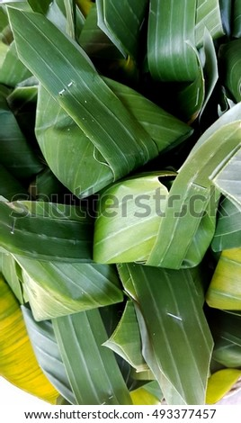 thailand dessert in banana leaf