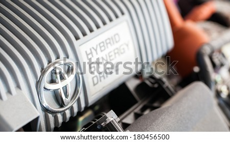 THAILAND-FEB 15: Toyota Thailand to recall Prius cars  on FEB. 15, 2014. Toyota Thailand to recall 18000 Prius cars for software defect in hybrid system. - stock photo