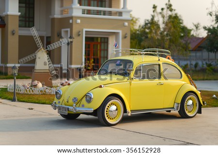 THAILAND - FEBRUARY 13, 2015 : Fully restored Volkswagen Beetle model year 1969  - stock photo