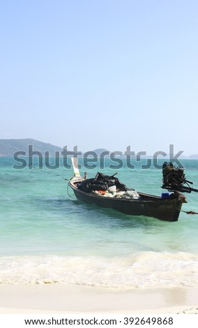 Thailand - FEBRUARY 21, 2015 : Longtale boat at the beach