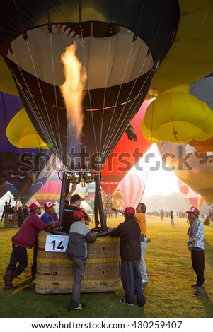 THAILAND FEBRUARY 14, 2016:Singha Park Chiang Rai International Balloon Fiesta 2016 will take place between February 10th and 14th at Singha Park Chiang Rai.