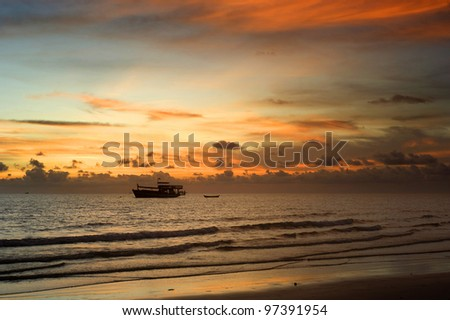 Thailand fishing boat at a beautiful sunset