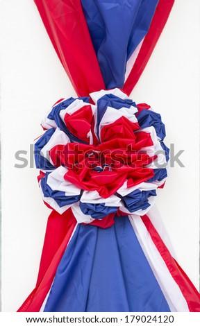 Thailand flag fabric ribbon   - isolated on white background - stock photo