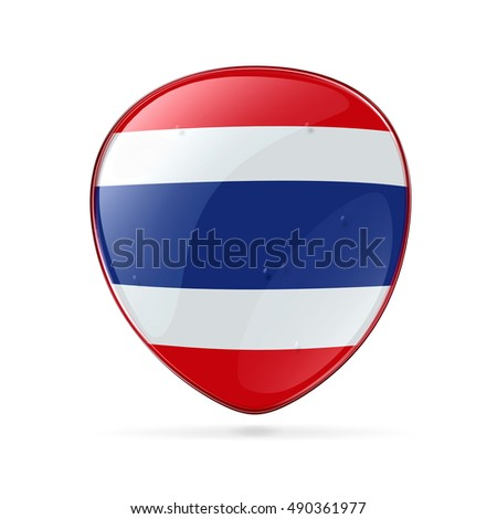 Thailand Flag icon, isolated on white background