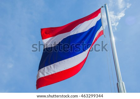 Thailand flag on cloudy and blue sky background