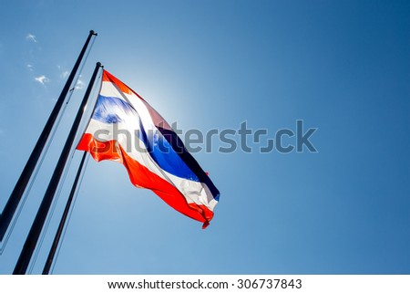 Thailand flag waving on the wind