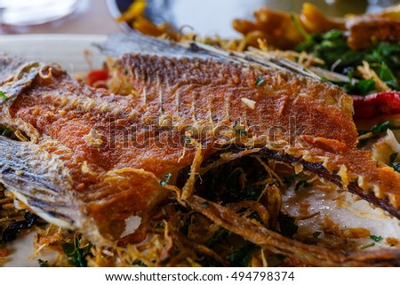 Thailand food,Fried fish with herbs.