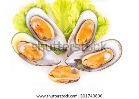 Thailand Food,mussels isolated on white background.