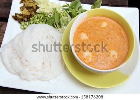 Thailand food spicy flavor Noodles solution chili sauce made of fish  - stock photo