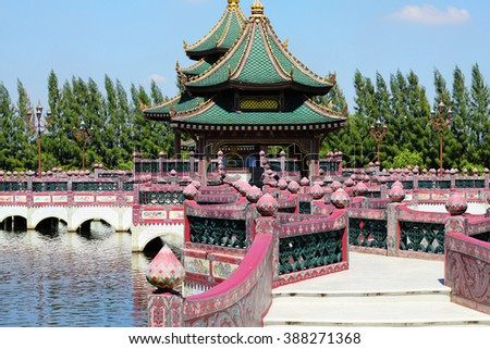 Thailand gazebo with a gallery on the lake - stock photo