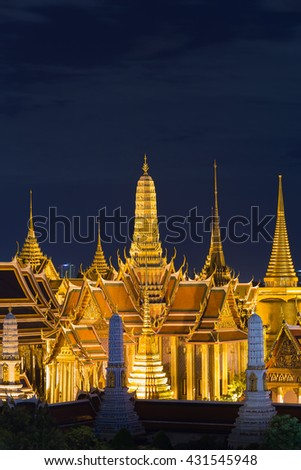 Thailand Grand Palace top view at night, The most famous Thailand travel landmark in Bangkok
