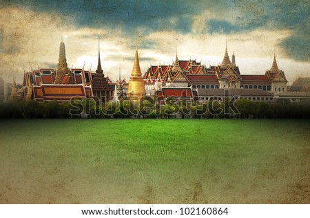 Thailand - Grand Palace - vintage picture - stock photo