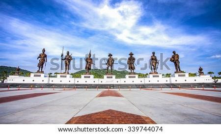 Thailand 7 Great Kings monument at Rajabhakdi Park, Hua-Hin, Thailand. - stock photo