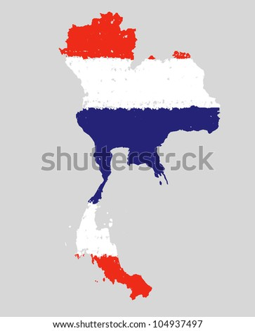 thailand grunge flag map hand drawing on grey background