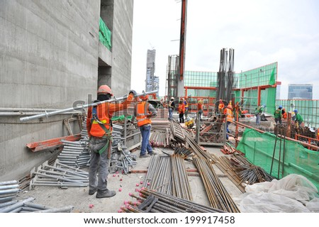 Thailand high rise building construction site - stock photo