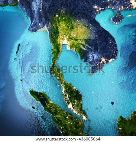 Thailand, Indonesia, Malaysia, Vietnam, Bangkok. Elements of this image furnished by NASA. 3D rendering - stock photo
