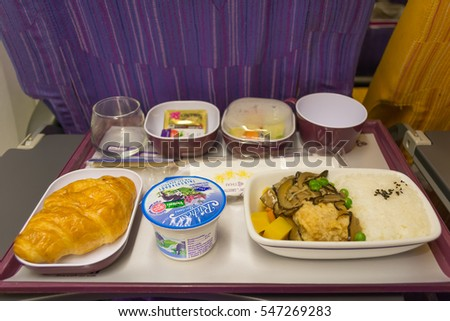 THAILAND JANUARY 12, 2016: meal in Economy Class of Thai Airways. Airplanes from Thai Airways (TG), the flag carrier of Thailand and a member of Star Alliance.