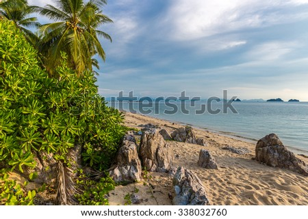 THAILAND, Jule - 12, 2014.  The sea, rocky beach and tropical plants in Koh Samui