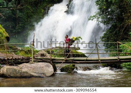THAILAND-JULY 25: Pa Dok Siew Waterfall beautiful waterfall in deep forest in Chiang mai on July 25, 2015, Thailand.