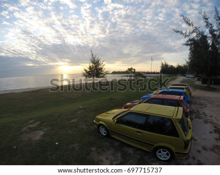 THAILAND   JULY 3, 2017: Toyota Starlet Group Of Thailand On The Beach Cha