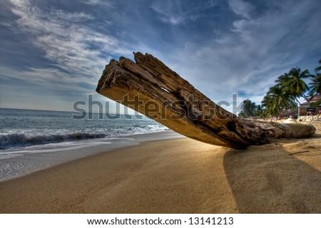 "Thailand - ""Koh Samui"" - log on beach - stock photo"