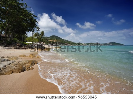Thailand, Koh Samui (Samui Island), view of the coast near Chaweng beach - stock photo