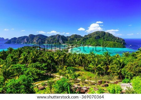 Thailand, Krabi. Phi Phi Don, panormic view if the island. - stock photo