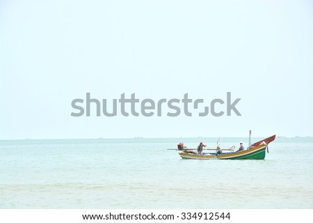 Thailand local fisherman boat at songkhla sea