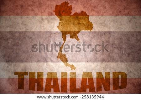 thailand map on a vintage thai flag background - stock photo