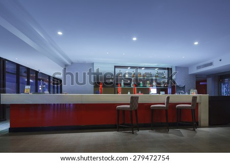 THAILAND - MAY 4: Business counter bar and chair for customer relaxing at Attica sky lounge Eastin Hotel on May 04, 2015 in Bangkok, Thailand - stock photo