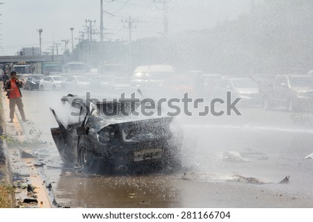 THAILAND- 24 May : Car fire due to a gas explosion. Be car crash. The damaged on car and driver died in car. On the Highway No.4 (Phet Kasem road). May 24,2015 in nakhon pathom province,thailand