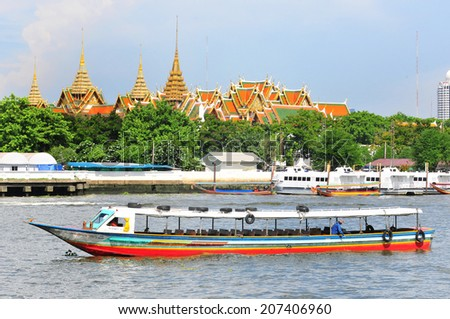 THAILAND - May 14 : Unidentified people travelling by express boat in Chao Phraya river on May 14, 2014 in BANGKOK THAILAND.