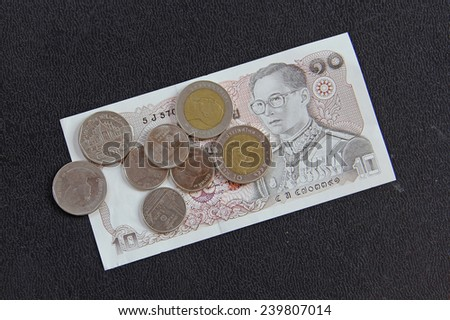 Thailand money Baht Banknote and coin - stock photo