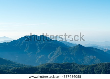 Thailand mountain landscape with morning fog shot at Doi Inthanon