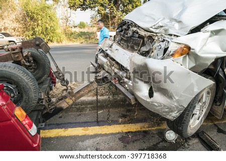 Thailand, Mukdahan - March 2016 ; Car crash accident on street, close up of damaged car