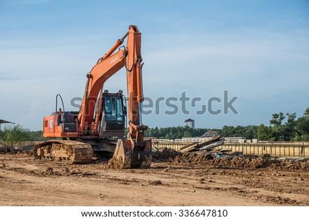 Thailand 2015 Nov 31 ,Excavator at construction site in Chantaburi town,Thailand  - stock photo