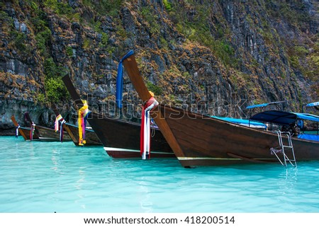 Thailand ocean landscape. Exotic beach view and traditional ship in Maya Bay, Ko Phi Phi Don. - stock photo
