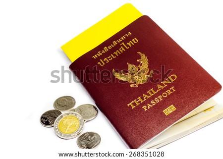 Thailand passport and money  isolated on white - stock photo