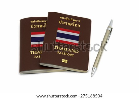 Thailand passport and pen for Travel or AEC concept - stock photo