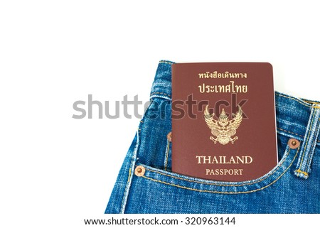 Thailand passport in jeans bag texture background - stock photo