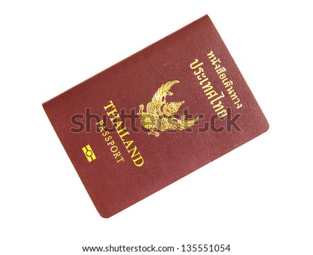 Thailand passport isolated on white background.