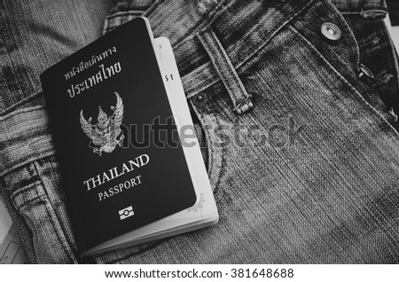 Thailand passport , on  background jeans,black and White - stock photo