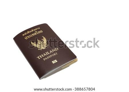 Thailand passport  on white background. - stock photo