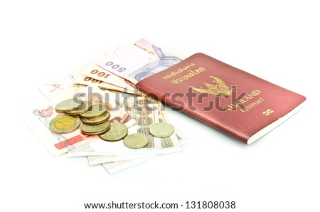 Thailand passport ,Thai  banknote and coin - stock photo